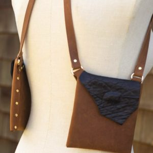 BROWN & BLACK SHEEP- Small leather designer purse