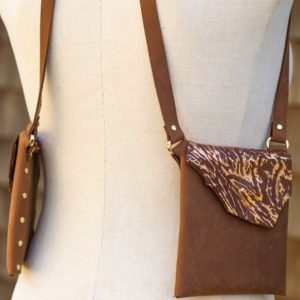 BROWN & GOLD KRINKLE- Small stylish leather purse