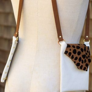 WHITE & CHEETAH- Fashionable small leather purse