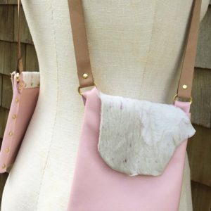 PINK & WHITE CALF- Designer small leather purse