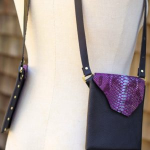 BLACK & PURPLE PYTHON- Fashionable small purse