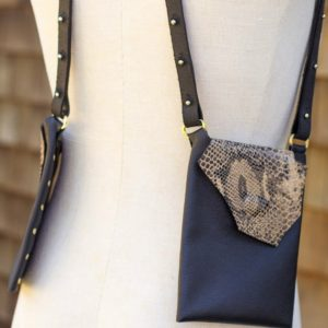 BLACK & TAN PYTHON- Small leather purse