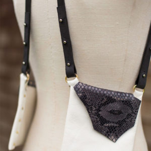 WHITE & BLACK PYTHON- Small handsfree purse